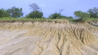 Arid landscape in the Bongo region of Ghana where the land has been degraded by desertification.