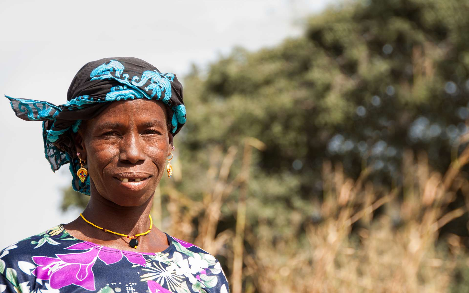 Clsoe up of Habi, a woman working with Tree Aid in Mali.