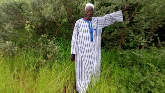 Yacouba Sawadogo, known as the the man who stopped the desert, on a Tree Aid project.