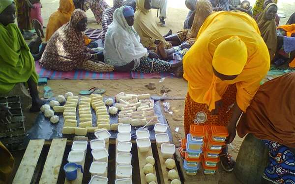 Women's enterprise group in Niger making soap to sell.